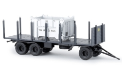 - <strong>Anhänger</strong> 3 axle Stake, with open Container, 1960<br>Brekina, 1:87<br>#55303