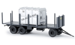 - <strong>Anhänger</strong> 3 axle Stake, with Closed Container, 1960<br>Brekina, 1:87<br>#55304