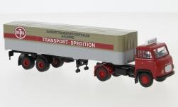 - <strong>Scania</strong> LB 76, flatbed platform trailer, 1962<br>Brekina, 1:87<br>#85172
