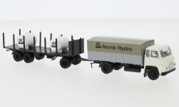 - <strong>Scania</strong> LB 76 PP, with stake wagon trailer and tanks, 1962<br>Brekina, 1:87<br>#85055